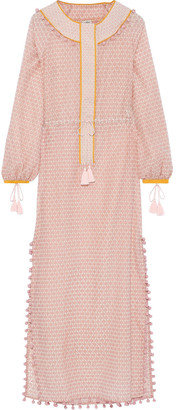 Talitha Collection Embellished Printed Cotton And Silk-blend Coverup