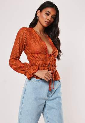 Missguided Rust Lace Plunge Tie Front Top