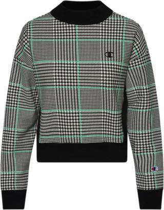 Champion Reverse Weave Mockneck Crop Crew Sweatshirt - Houndstooth / White Black