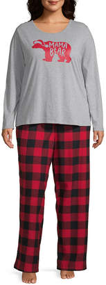 Buffalo David Bitton North Pole Trading Co. Plaid Family Womens Long Sleeve-Plus Pant Pajama Set 2-pc.