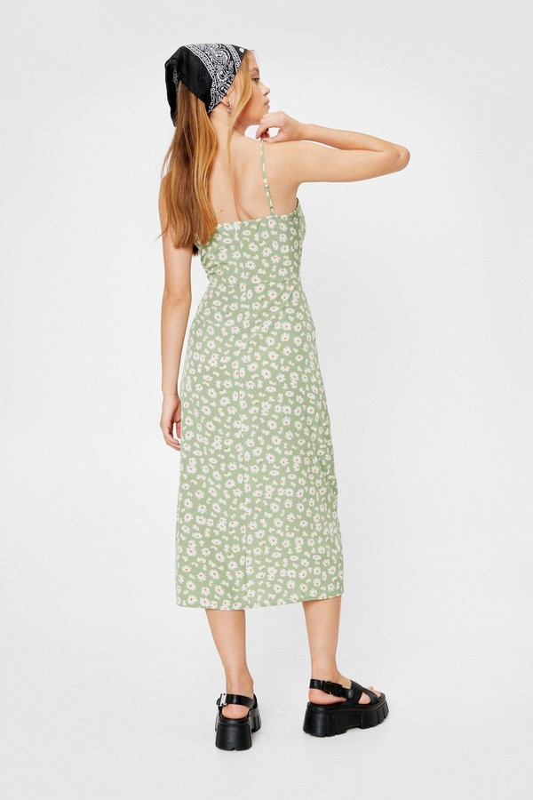 Thumbnail for your product : Nasty Gal Womens Casual Floral Slit Midi Dress - Green - 10