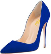 FSJ Women Soft Suede Shoes Pointed Toe Pumps High Heels Stilettos for Dress Size 8.5
