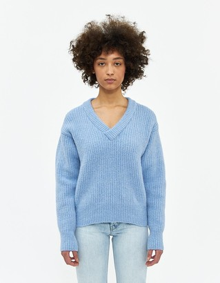 Our Legacy Women's Relaxed V-Neck Sweater in Fuzzy Baby Blue, Size 34 | Wool