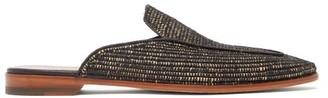 Casablanca 1942 - Matt Backless Raffia And Leather Loafers - Mens - Black Multi