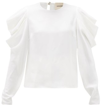 Alexandre Vauthier Ruched Puff-sleeve Faille Blouse - White