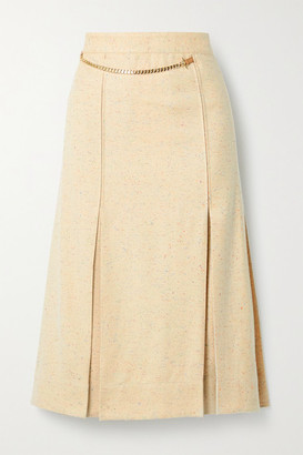 Victoria Beckham Leather-trimmed Pleated Silk-blend Tweed Wrap Skirt - Beige