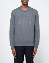 Ami Crew Neck Sweatshirt in Heather Grey