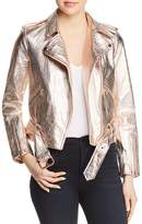 True Religion Metallic Leather Moto Jacket