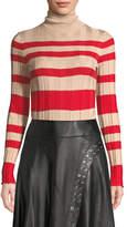 Derek Lam Long-Sleeve Striped Rib-Knit Turtleneck Sweater