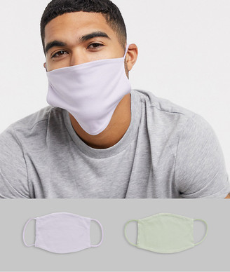 ASOS DESIGN 2 pack face covering in lilac and mint green