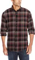 G.H. Bass & Co. Men's Long Sleeve Fireside Plaid Flannel Shirt, Dark