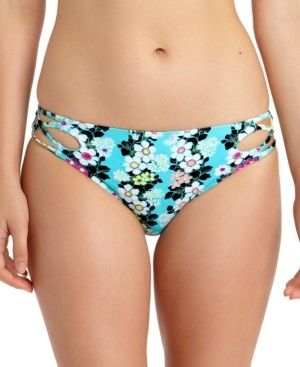 California Waves Juniors' Floral-Print Strappy Hipster Bikini Bottoms, Created for Macy's Women's Swimsuit