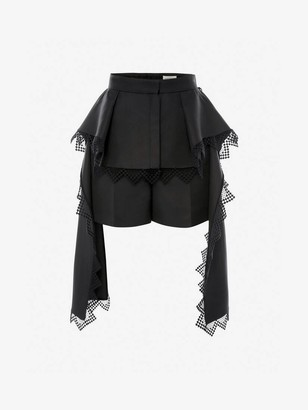 Alexander McQueen Peplum Lace Shorts