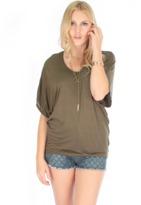 Fashion Club USA Burnout Short Sleeve Dolman Tunic Top.