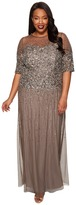 Adrianna Papell Plus Size Long Beaded Illusion Gown w/ Elbow Sleeve Women's Dress