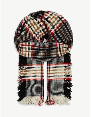 Johnstons Merino wool checked tweed scarf