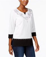 Alfred Dunner Petite Embellished Colorblocked Top