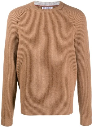 Brunello Cucinelli Raglan-Sleeve Ribbed Knit Jumper