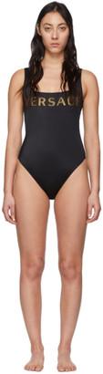 Versace Underwear Black Logo One-Piece Swimsuit