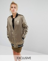 Puma Exclusive To ASOS Longline Khaki Bomber Jacket
