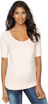 A Pea in the Pod Maternity Ruched Elbow-Sleeve Top