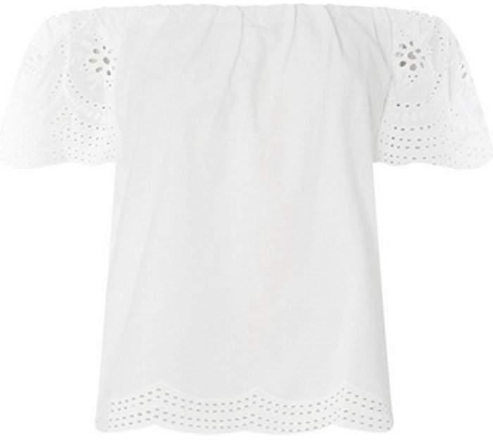 Dorothy Perkins Womens White Broderie Sleeve Bardot Top