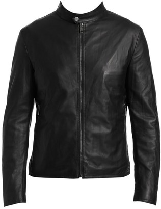 Saks Fifth Avenue COLLECTION Banded Collar Leather Jacket