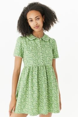 Urban Renewal Vintage Urban Outfitters Archive Green Ditsy Floral Lottie Dress - Green XS at Urban Outfitters