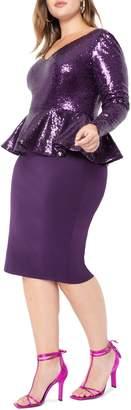 ELOQUII Sequin Mix Media Peplum Dress