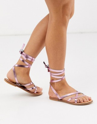 ASOS DESIGN Framed strappy leather sandal in metallic pink