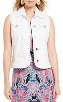 Allison Daley Petites Super Stretch Twill Button Front Vest