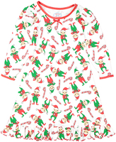 Sara's Prints White Candy Canes & Elves Nightgown - Toddler & Girls