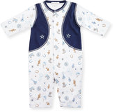 Kissy Kissy Cowpokes Printed Pima Coverall, Blue, Size 3-24 Months