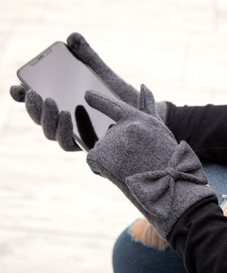 Aili's Corner Women's Casual Gloves Gray - Gray Bow Wool-Blend Touch Screen Gloves