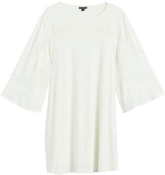 Nina Leonard Sheer Illusion Trapeze Dress