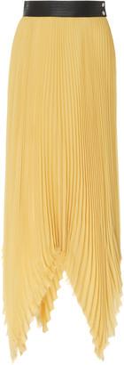 Loewe Leather-Trim Pleated Jersey-Silk Midi Skirt