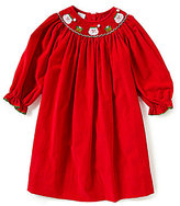 Edgehill Collection Baby Girls 3-24 Months Christmas Santa Face Smocked Long-Sleeve Dress