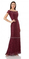 Carmen Marc Valvo Off the Shoulder Lace Evening Dress