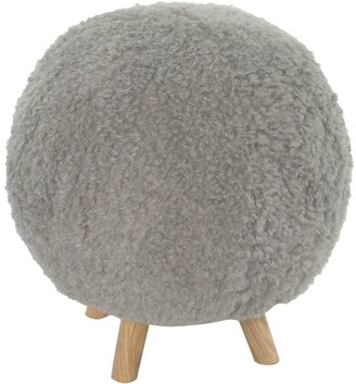 Critter Sitters 19-In. Seat Height Plush Gray Ottoman, 4 Spindle Legs, Furniture for Nursery, Bedroom, Playroom, Living Room