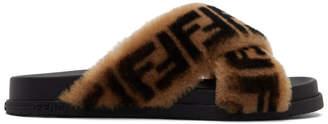 Fendi Black Shearling Forever Slides