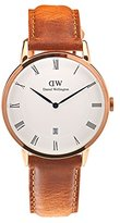 Daniel Wellington 'Dapper' Quartz Stainless Steel and Leather Casual Watch, Color:Brown (Model: DW00100115)