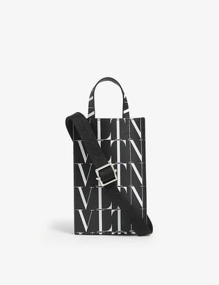 Valentino Logo-print small leather iPhone bag
