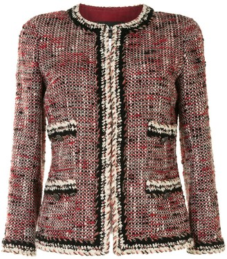 Chanel Pre Owned Woven Collarless Jacket