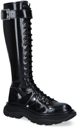 Alexander McQueen Leather Tread High-Leg Boots 45