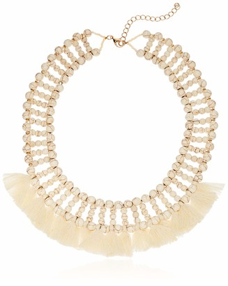 Panacea Womens White Howlite Tassel Collarlace One Size