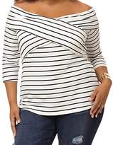 BYY Plus Size Wrap Front Stripe Off-shoulder Top(Size,2XL)