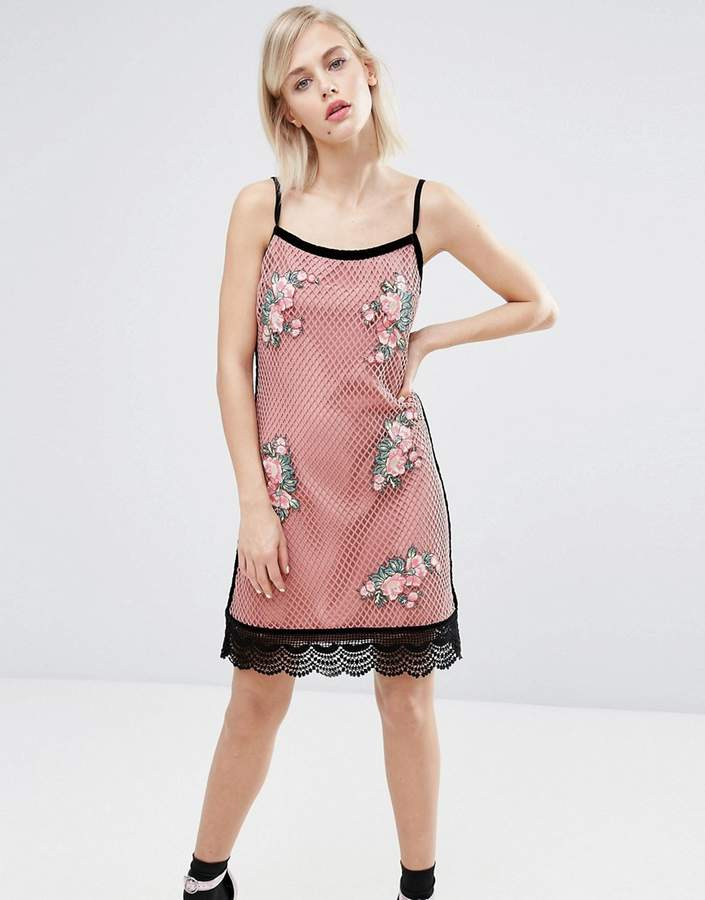 House of Holland Fishnet Embroidered Dress