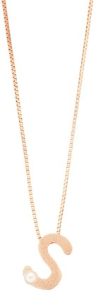 14k Rose Gold Over Silver Freshwater Cultured Pearl Initial Pendant