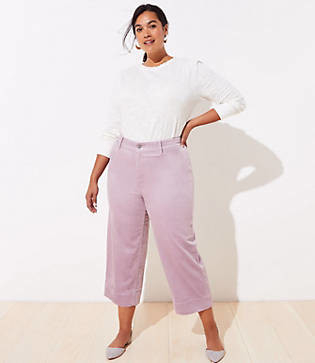LOFT Plus Velvet High Waist Slim Wide Leg Pants