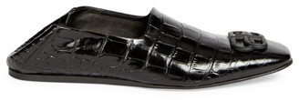 Balenciaga Cosy BB Croc-Embossed Leather Loafers